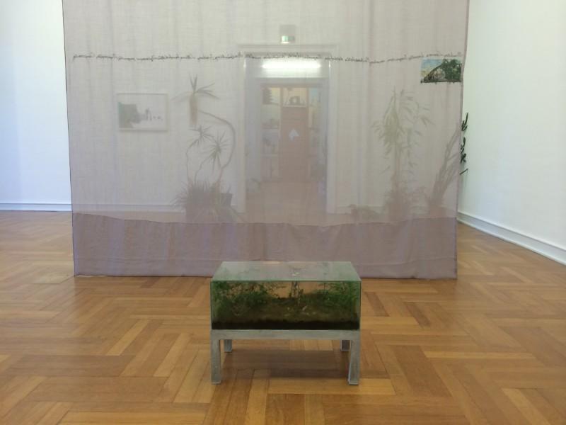 Isa Melsheimer -Rauminstallation mit einer Gruppe von Arbeiten zum Thema