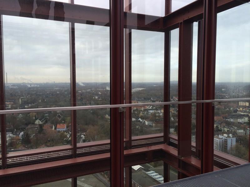 Aussicht von der Besucherterrasse auf Ebene 18 im Nordsternturm Gelsenkirchen