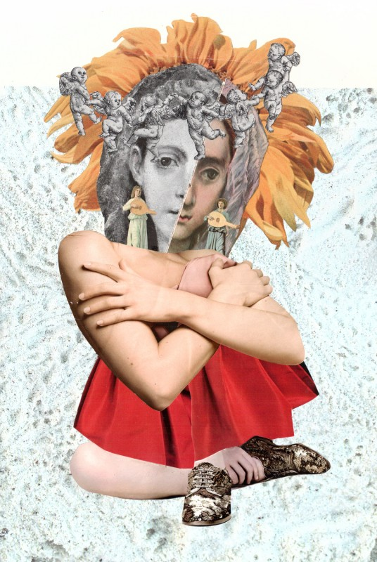 No49  Madonna Mail Art Call - Exhibition 2018 in Hieronymus Bosch Center NL - Exquisite Corpse - Tricollage by - Head  and background  Josephine - Body Lynn Skordal - Legs Sabine Remy - 2017