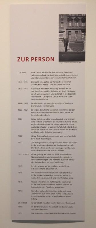 Zeche Zollern Dortmund  - Ausstellung Erich Grisar - Zur Person - About Erich Grasar
