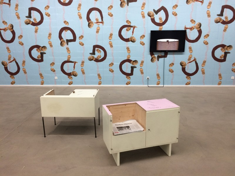 Erwin Wurm - Martin Kippenberger Cupboard - 2010- Epic (Video) 2014<br>Francis Bacon Hanging Cabinet - 2010- Lehmbruck Museum Duisburg