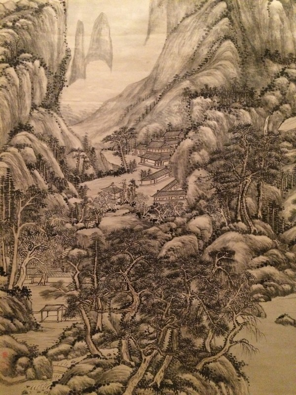 Mountains and Rivers in the GLow of Twilight - by Wang Yuanqi (1642-1715) - Hanging Scroll - Qing Dynasty