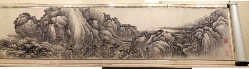 Village by the river - byGong Xian - Handscroll - Qing Dynasty (1618-1689)