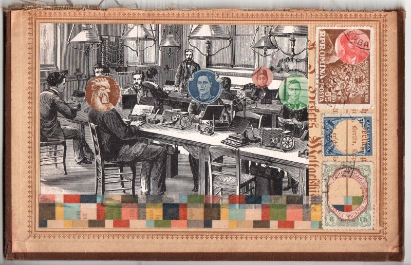 Der Chef - Collage auf Buchdeckel / The Boss -collage on board - 2018 - 11,5 x 18 cm