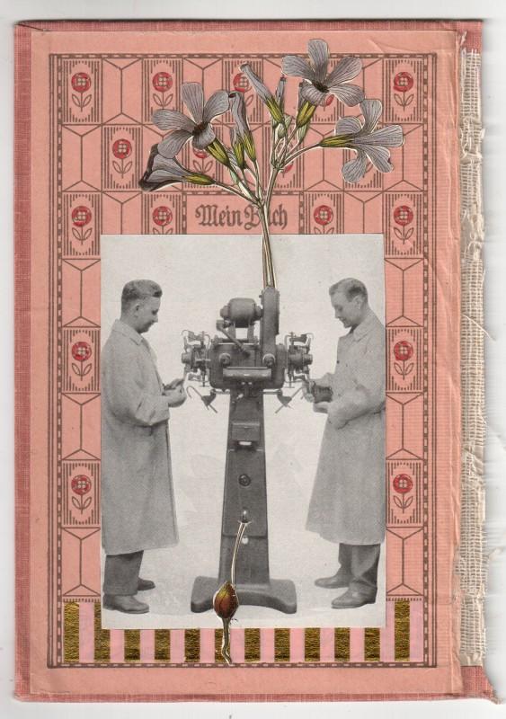 Die Blumenmaschinisten - Collage on board - 2018 - 17 x 11,7 cm