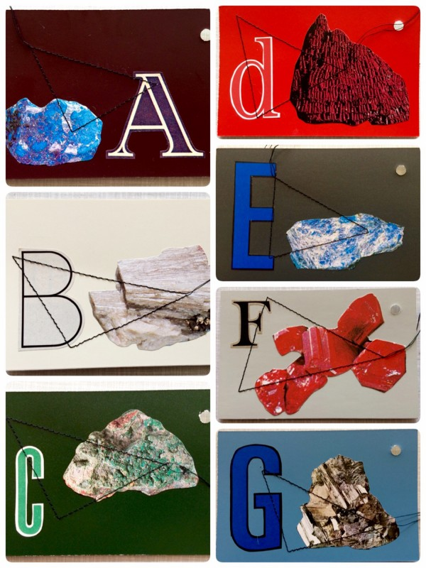 Mineralogisches Alphabet A - G - sewed collages on vintage colour fan, ring<br>(8,5 x 13cm / 3,4 x 5,1 inches)