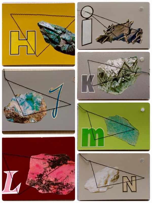 Mineralogisches Alphabet H - N - sewed collages on vintage colour fan, ring<br>(8,5 x 13cm / 3,4 x 5,1 inches)