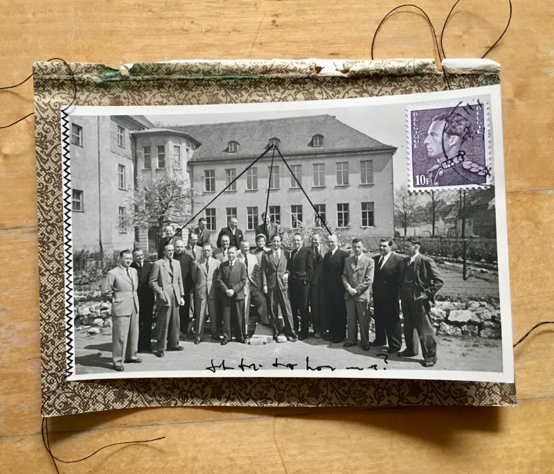 Lebensgeheimnisse / Mysteries of life  - 2018 - Background paper from 1903, vintage photos, marker, sticker, sewed - 11,5 x 15,5 cm