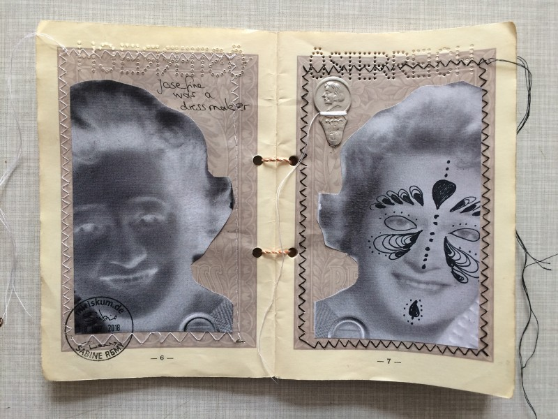 Passport Josefine Gruber - Josefine was a dressman - sewed collage with threader / genähte Collage mit Einfädelhilfe in altem Reisepass - Collaborative mail art project by Geronimo Finn
