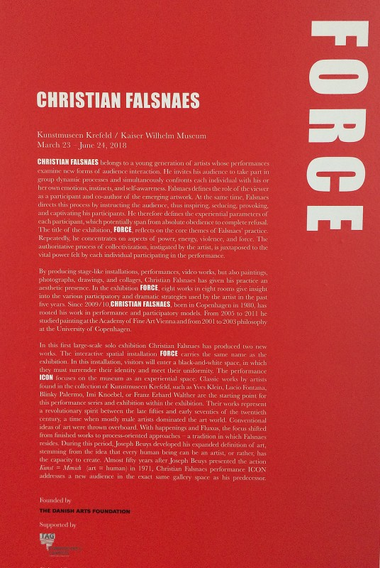 Force 2018 Text english- Christian Falsnaes im Kaiser Wilhelm Museum Krefeld