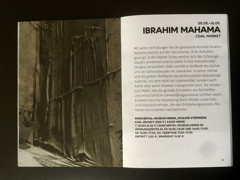 Emschertal Museum Herne Ibrahim Mahama Coal Market - aus dem Begleitheft