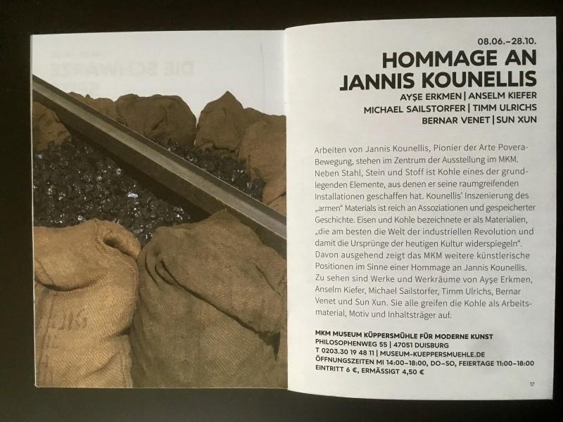 Kunst und Kohle Hommage an Jannis Kounellis - aus dem Begleitheft