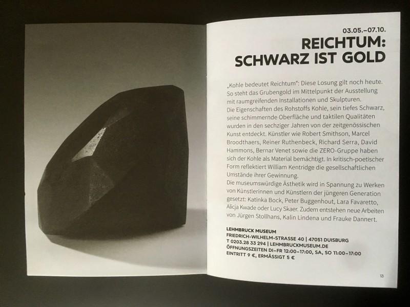 Lehmbruck Museum: Reichtum Schwarz ist Gold / Wealth Black is Gold - aus dem Begleitheft