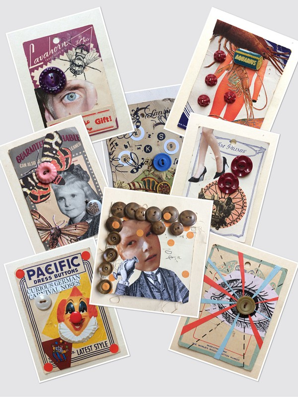No96  A Set of  Eight Vintage Button Cards Lynn Skordal and Sabine Remy 2018