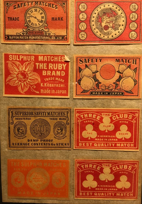 Antike Streichholzschachteletiketten im Lightner Museum -Antique match box lables in the Lightner Museum 11