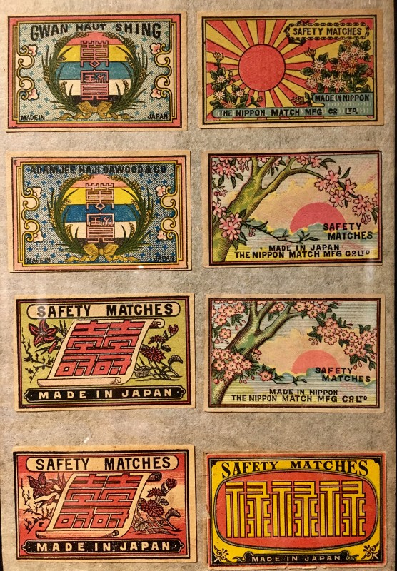 Antike Streichholzschachteletiketten im Lightner Museum -Antique match box lables in the Lightner Museum 3