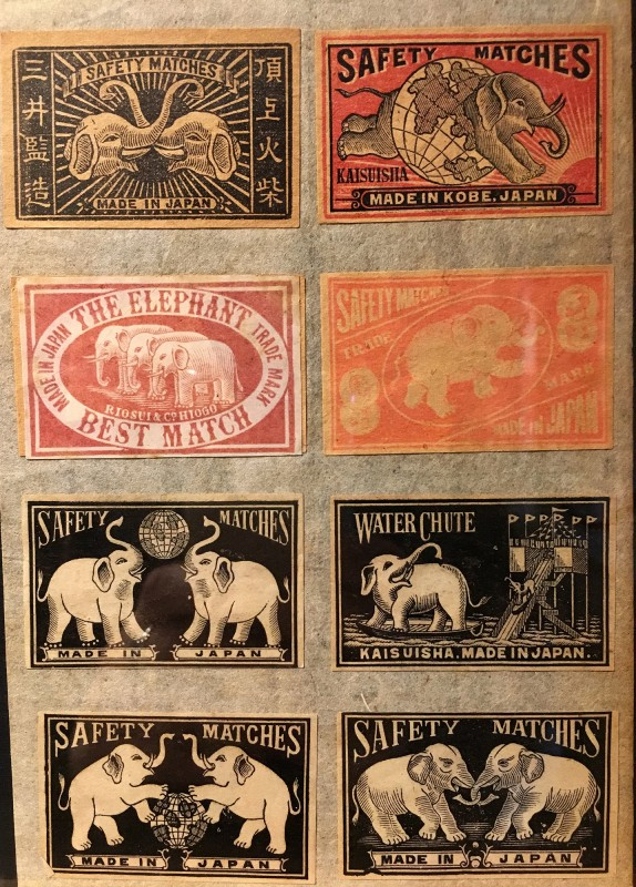 Antike Streichholzschachteletiketten im Lightner Museum -Antique match box lables in the Lightner Museum 4