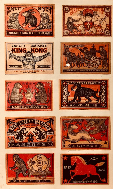 Antike Streichholzschachteletiketten im Lightner Museum -Antique match box lables in the Lightner Museum 8
