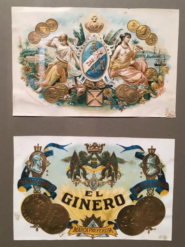 Antike Zigarrenkisten-Etiketten im Lightner Museum -Antique cigar box lables in the Lightner Museum