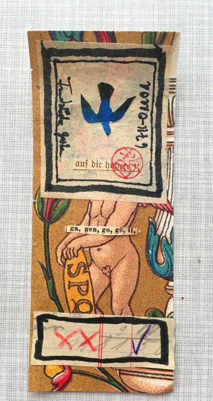 Original Collage von Petra Lorenz aus dem Papageienautomat