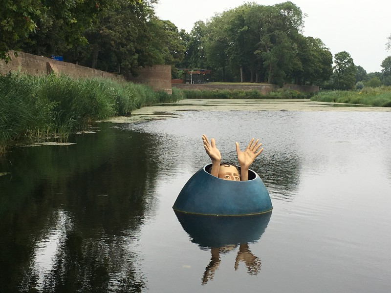 A Jheronimus Bosch inspiered floating sculpture in s Hertogenbosch