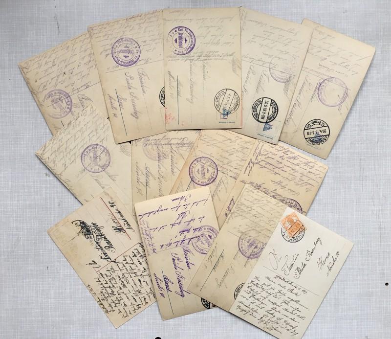 Some of the backsides of the postcards I used - Einige der Postkartenrueckseiten die ich benutzt habe