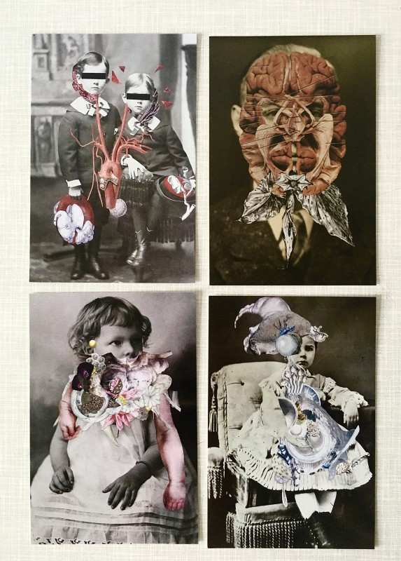 INcoming Mail from Axelle Kieffer - 03-2020 - a set of postcards with Axelle´s collages / Ein Postkartenset mit Axelles Collagen