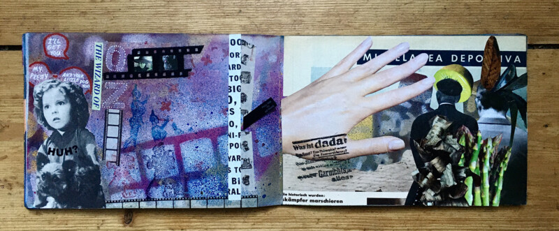 Pass Book started by Jon Foster - left page by Julie VanBortel Matevish - right page by Susanna Lakner