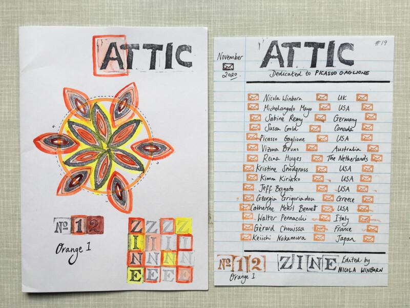ATTIC ZINE NO 12 Orange 1 - Titelblatt und Teilnehmer / cover and articipants