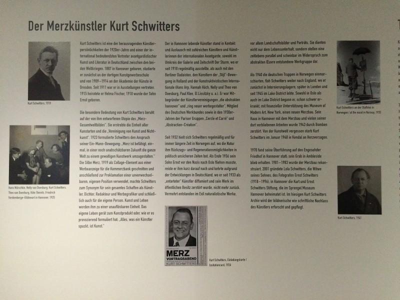 Einführungstafel Kurt Schwitters Ausstellung