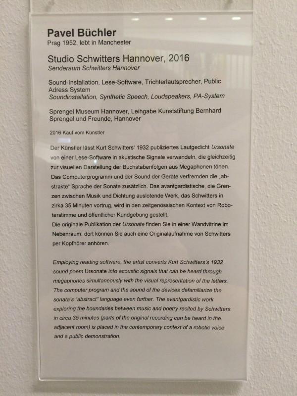 Information Pavel Buechler Studio Schwitters