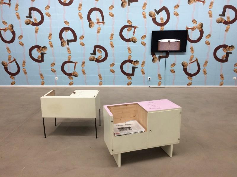 Erwin Wurm - Martin Kippenberger Cupboard - 2010- Epic (Video) 2014<br>Francis Bacon Hanging Cabinet - 2010- Lehmbruck Museum Duisburg