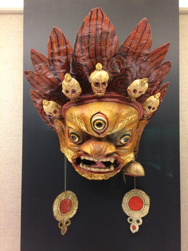 Painted and lacquered mask used for Cham dance - Tibetan - Gannan, Gansu - The 1st half of the 20th century
