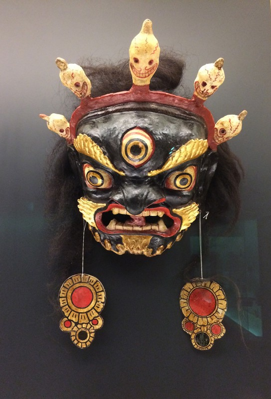 Painted and layquered mask used for Cham dance - Tibetan - Gannan, Gansu - The 1st halt of the 20th century