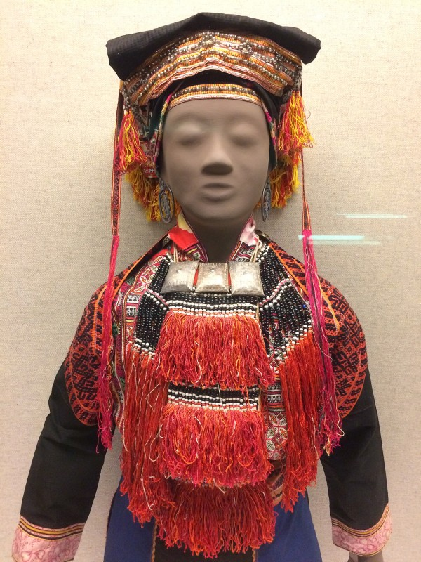 Woman´s ensemble with silver adornments and cross-stitched embroidery (Detail) - Yao - Jinxiu, Gunagxi Zhunag Autonomous Region - The 2nd half of the 20th century