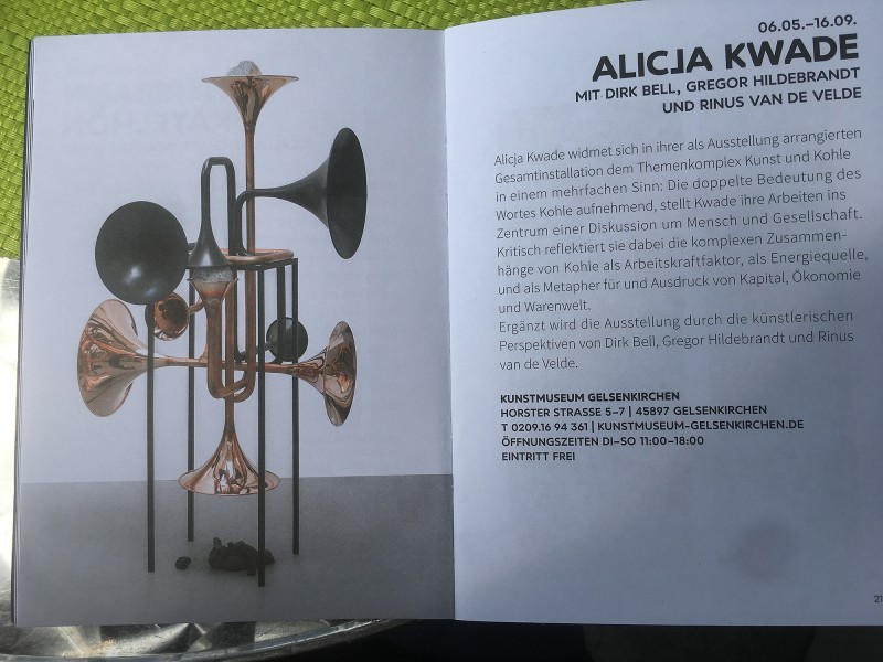 Kunst und Kohle Alicja Kwade aus dem Begleitheft
