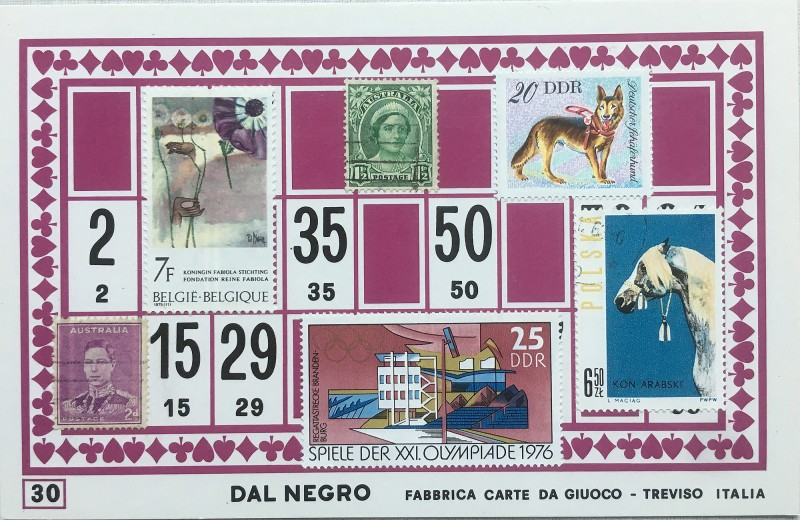 Mail Art Bingo No30 of 40 for KART assembling magazine running by David Dellafiora