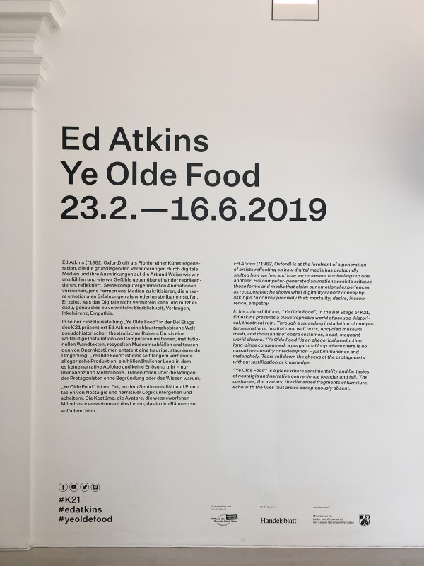 Ed Atkins Ye Olde Food im K21 - Texttafel Museum