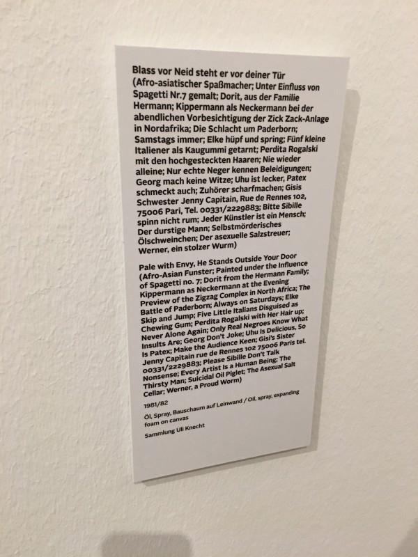 Martin Kippenberger - Eine Retrospektive -Bundeskunsthalle Bonn 2019 - Blass vor Neid steht er vor deiner Tuer - alle Titel - Pale with Envy He Stands Outside Your Door 1981 1982 all titles