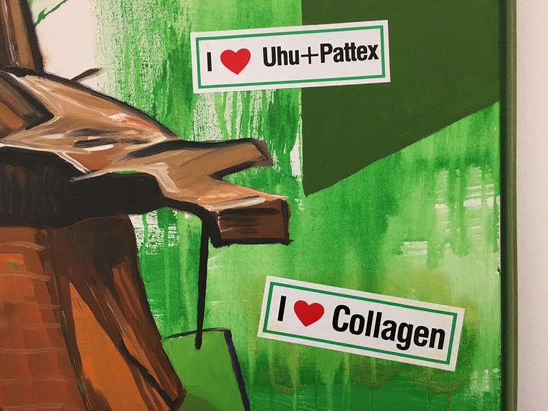 Martin Kippenberger - Bitteschön Dankeschön - Eine Retrospektive -Bundeskunsthalle Bonn 2019 - Geschützte Palmen im langweiligen Frankfurt - Protected Palms in Boring Frankfurt - 1985 - Detail I love Collagen