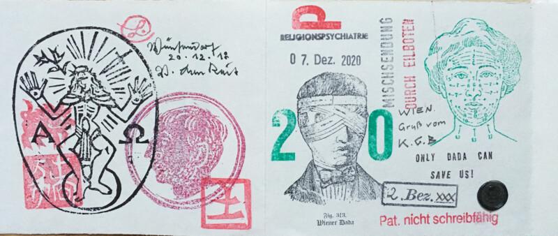 Incoming Mail Art January 2021 Stamp Zine by Volker Lenkeit - Volker Lenkeit left - Geronimo Finn right