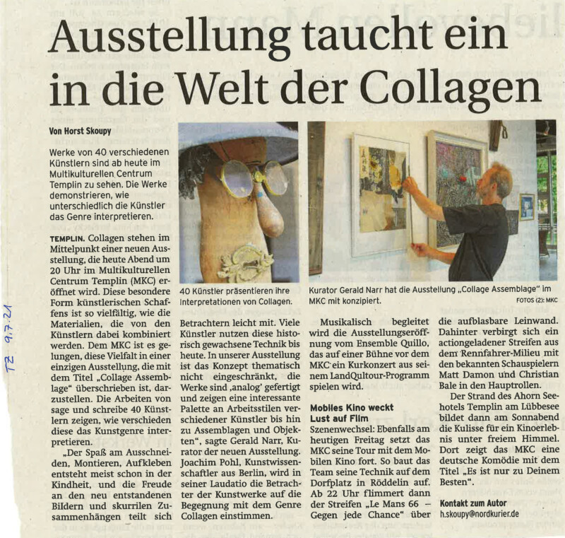 Pressespiegel: NK TZ_2021_07_09 Ankündigung Ausstellung Collagen